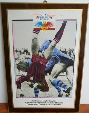 1987 Promotional Poster for Long Beach Rugby League game